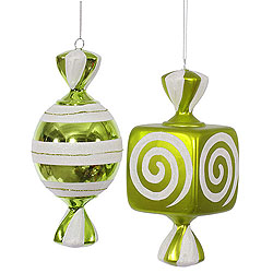 8 Inch Lime And White Fat Candy Ornament 4 per Set