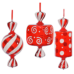 15 Inch Red And White Fat Candy Ornament 3 per Set