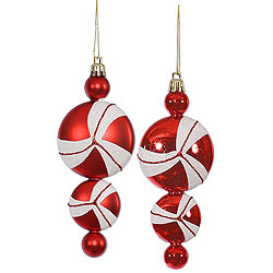 6 Inch Red And White Candy Dangle Ornament 4 per Set