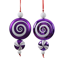 9 Inch Purple and White Candy Dangle Christmas Ornaments Shatterproof Set of 2