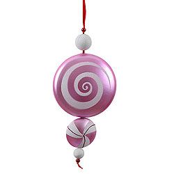 9 Inch Pink and White Candy Dangle Christmas Ornaments Shatterproof Set of 2