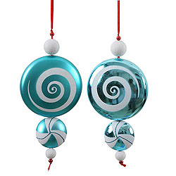 9 Inch Teal and White Candy Dangle Christmas Ornaments Shatterproof Set of 2