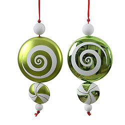 9 Inch Lime and White Candy Dangle Christmas Ornaments Shatterproof Set of 2