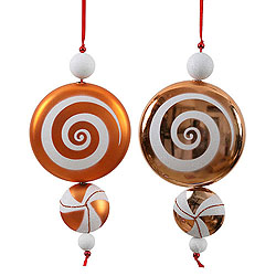 9 Inch Orange and White Candy Dangle Christmas Ornaments Shatterproof Set of 2
