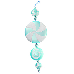 20 Inch Teal And White Candy Dangle Ornament 2 per Set