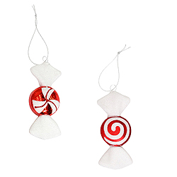 4 Inch Red And White Candy Ornament 2 Assorted 8 per Set
