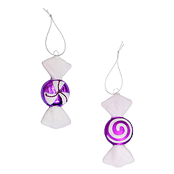 4 Inch Purple And White Candy Ornament 2 Assorted 8 per Set