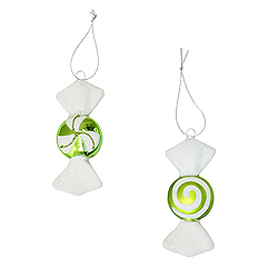 4 Inch Lime And White Candy Ornament 2 Assorted 8 per Set