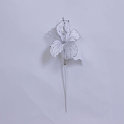 23 Inch White Velvet Magnolia Decorations - 6 Inch Flower - 2 Flower Stem
