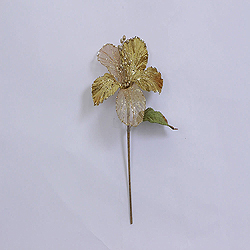 23 Inch Gold Velvet Magnolia Decorations 6 Inch Flower 2 Flower Stem