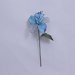 23 Inch Aqua Velvet Magnolia Decorations - 6 Inch Flower - 2 Flower Stem