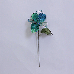 23 Inch Peacock Velvet Magnolia Decorations 6 Inch Flower 2 Flower Stem