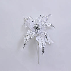 31 Inch White Glitter Poinsettia Decoration - 13 Inch Flower