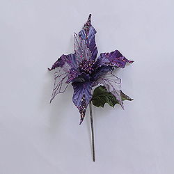 31 Inch Purple Glitter Poinsettia Decoration - 13 Inch Flower