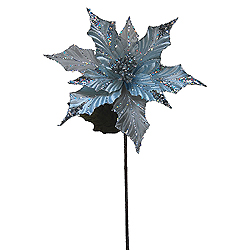 31 Inch Silver Glitter Poinsettia Decoration - 13 Inch Flower