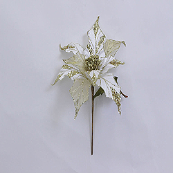 31 Inch Cream Glitter Poinsettia Decoration - 13 Inch Flower