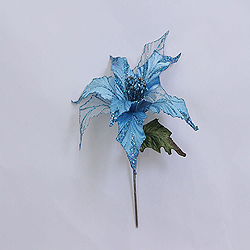 31 Inch Aqua Glitter Poinsettia Decoration - 13 Inch Flower