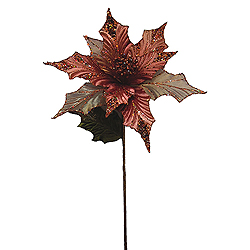 31 Inch Copper Glitter Poinsettia Decoration - 13 Inch Flower