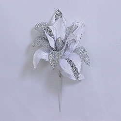 31 Inch White Glitter Magnolia Flower On Stem 13 Inch Flower