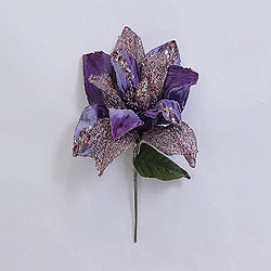 31 Inch Purple Glitter Magnolia Flower On Stem 13 Inch Flower