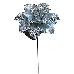 31 Inch Silver Glitter Magnolia Flower On Stem 13 Inch Flower