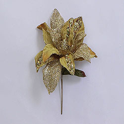 31 Inch Gold Glitter Magnolia Flower On Stem 13 Inch Flower