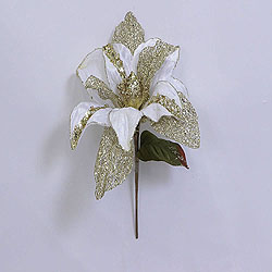 31 Inch Cream Glitter Magnolia Flower On Stem 13 Inch Flower