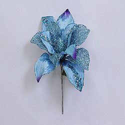 31 Inch Aqua Glitter Magnolia Flower On Stem 13 Inch Flower