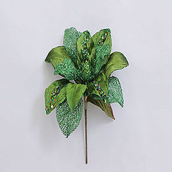 31 Inch Lime Glitter Magnolia Flower On Stem 13 Inch Flower