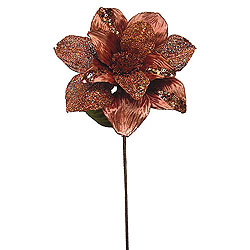 31 Inch Copper Glitter Magnolia Flower On Stem 13 Inch Flower