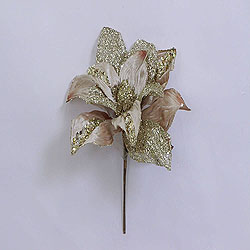 31 Inch Champagne Glitter Magnolia Flower On Stem 13 Inch Flower
