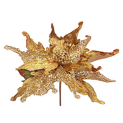 30 Inch Gold Beaded Magnolia Flower Decoration - 11 Inch Flower