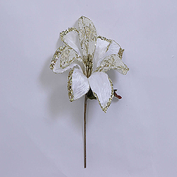 30 Inch Cream Beaded Magnolia Flower Decoration 11 Inch Flower