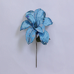 30 Inch Aqua Beaded Magnolia Flower Decoration - 11 Inch Flower