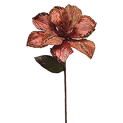 30 Inch Copper Beaded Magnolia Flower Decoration 11 Inch Flower