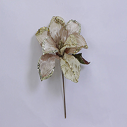30 Inch Champagne Beaded Magnolia Flower Decoration 11 Inch Flower