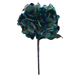 29 Inch Peacock Velvet Hydrangea Artificial Flower Decoration