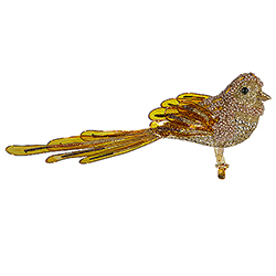 8 Inch Gold Beaded Bird With Clip Set Of 6