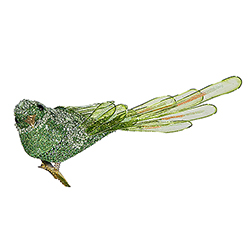 8 Inch Light Green Beaded Bird With Clip
