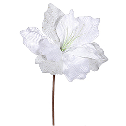 White Sparkle Amaryllis Decorative Artificial Floral Spray Set of 12