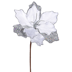 Silver Sparkle Amaryllis Decorative Artificial Floral Spray Set of 12