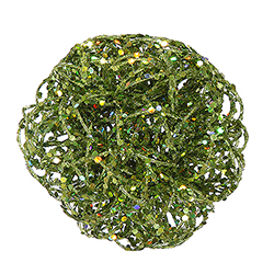 4.75 Inch Light Green Sparkle Curly Ball Orn