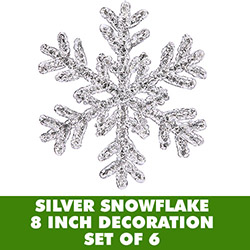 8 Inch Silver Crystal Snowflake Christmas Ornament