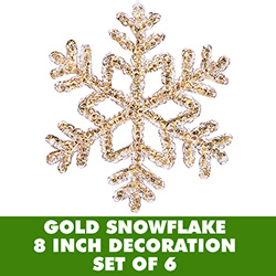 8 Inch Gold Crystal Snowflake