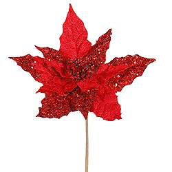 10 Inch Red Velvet Mica Poinsettia Pick