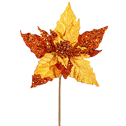 10 Inch Copper Velvet Mica Poinsettia Pick