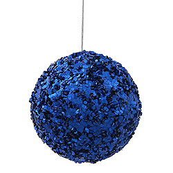 3.5 Inch Blue Sparkle Sequin Round Ornament