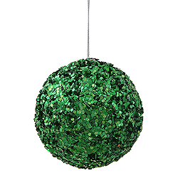 3.5 Inch Green Sparkle Sequin Round Ornament