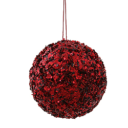 3.5 Inch Burgundy Sparkle Sequin Round Ornament