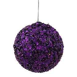 3.5 Inch Purple Sparkle Sequin Round Ornament